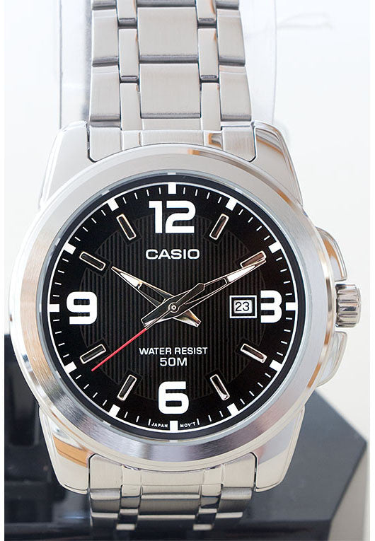 Casio MTP-1314D-1AV Men's Black Stainless Steel Band with Date Neo Display Watch