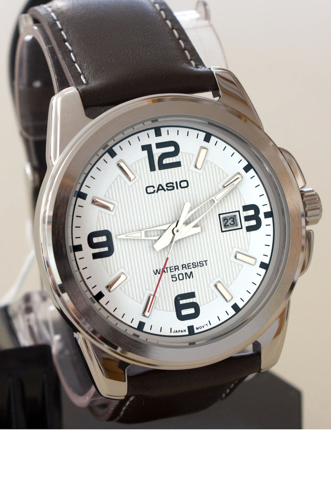 Casio MTP-1314L-7AV Men's White Face Brown Leather Band with Date Display Watch