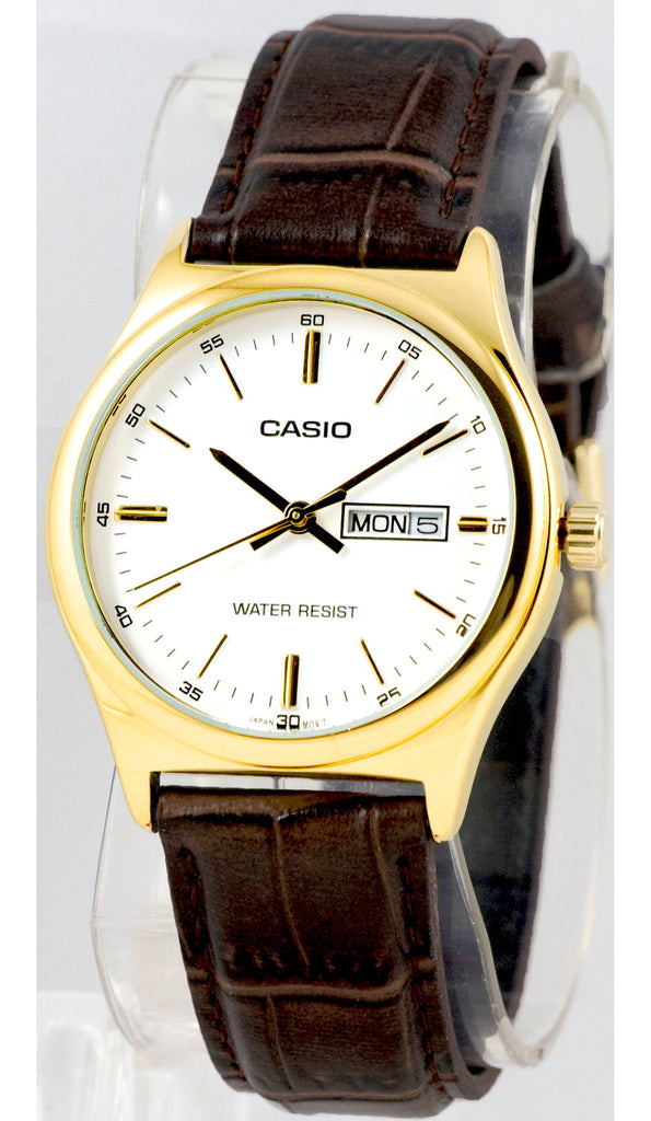 Casio MTP-V003GL-7A Mens Gold White Analog Brown Leather Band Watch New Day Date