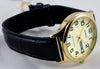 Casio MTP-V003GL-9B Mens Gold Analog Black Leather Band Watch New with Day and Date