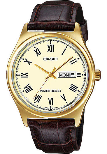 Casio MTP-V006GL-9B Mens Analog Gold Tone Watch Brown Leather Band Day Date