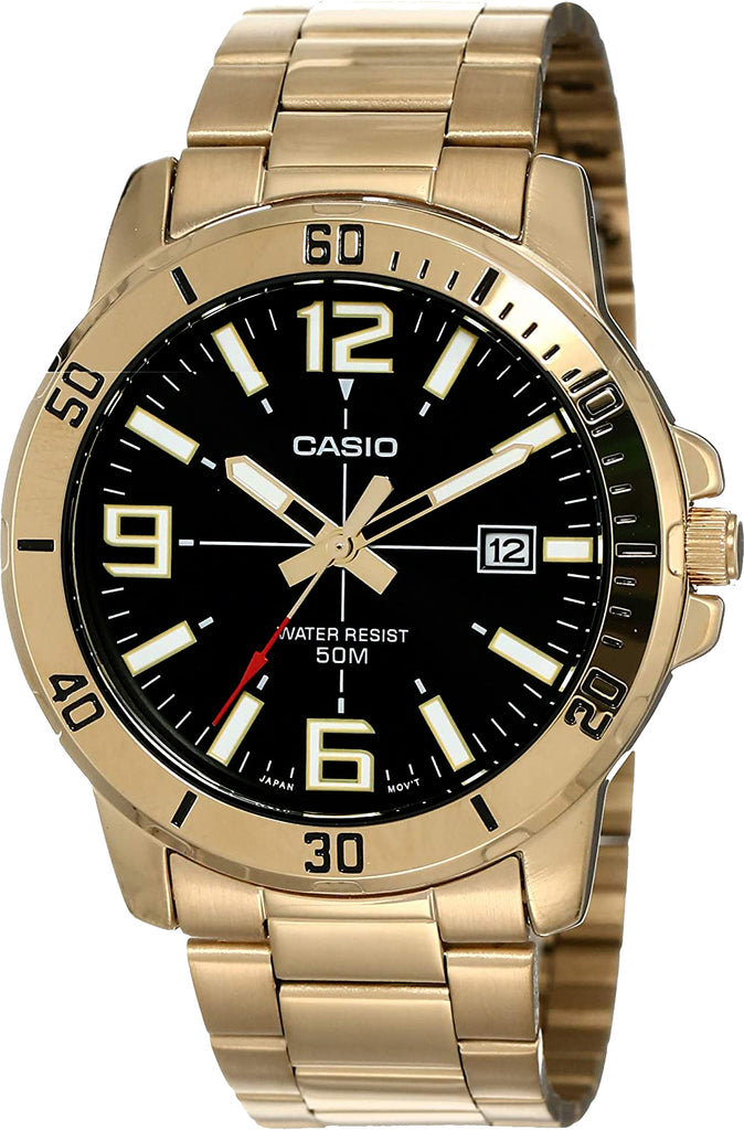 Casio MTP-VD01G-1B Men's Black Gold Analog Watch Steel Band Date Indicator New