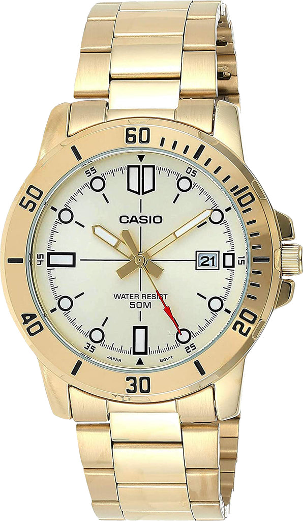 Casio MTP-VD01G-9E Men's Black Gold Analog Watch Steel Band Date Indicator New