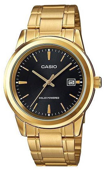 Casio MTP-VS01G-1A Men's Black Gold SOLAR Analog Watch Steel Band Date Indicator New