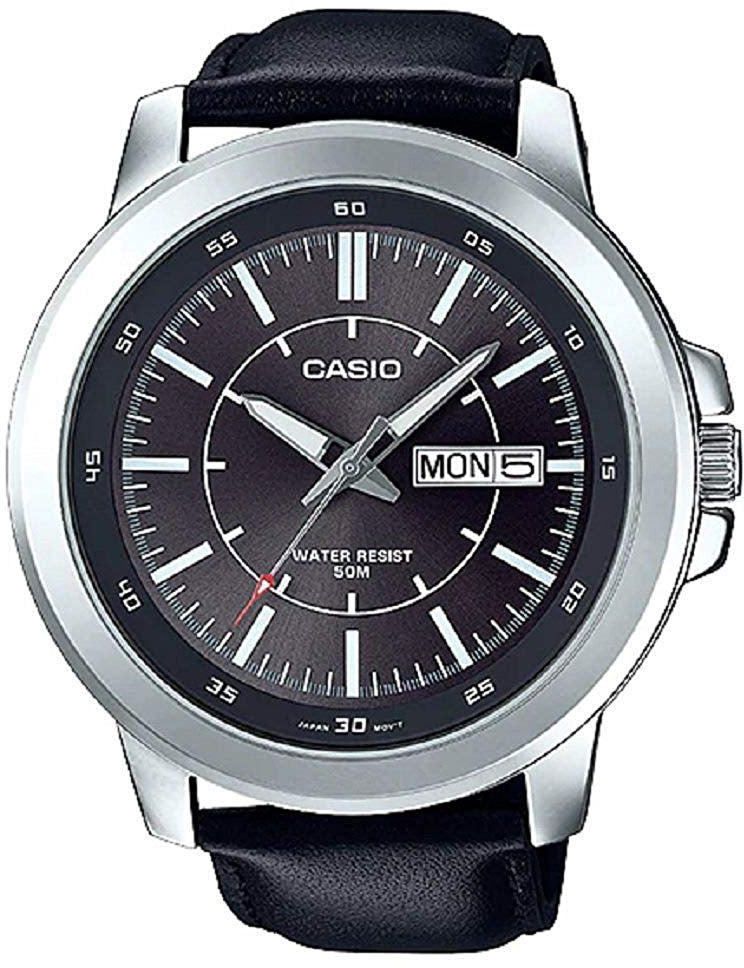 Casio MTP-X100L-8E Mens XL 52mm Grey Analog Watch Black Leather Date Date New