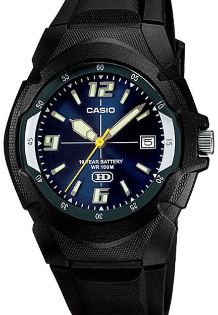 Casio MW-600F-2AV Blue Analogue with Neo Date Display 10 Year Battery Watch