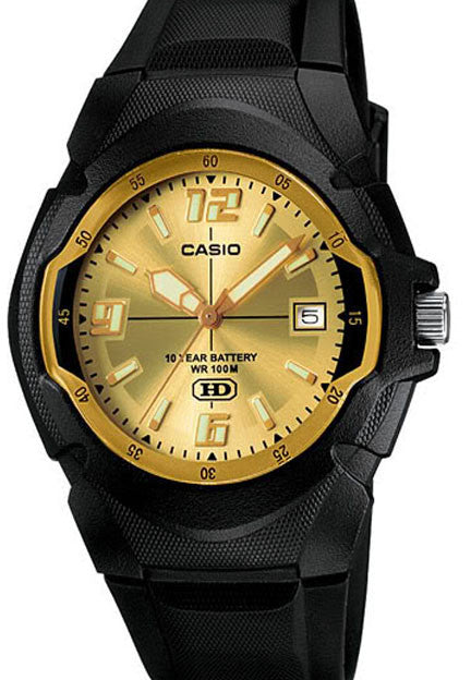 Casio MW-600F-9AV Gold Analogue with Neo Date Display 10 Year Battery Watch