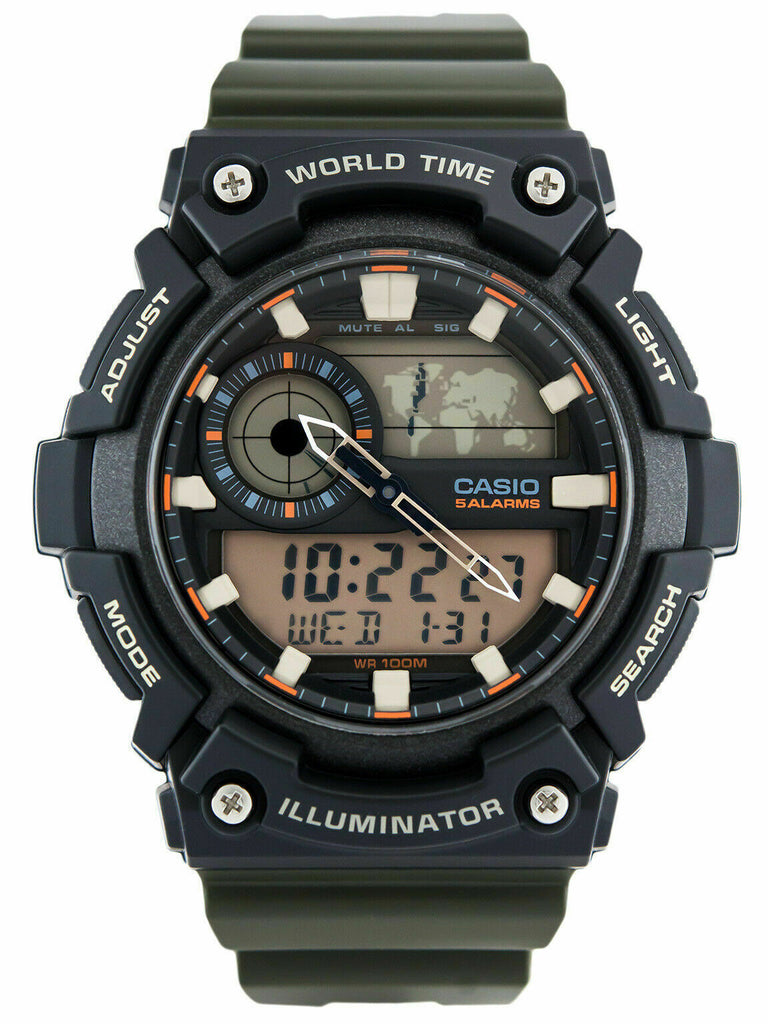 Casio AEQ-200W-3AV Mens Black 100M World Time Watch Digital/ Analog Sports New