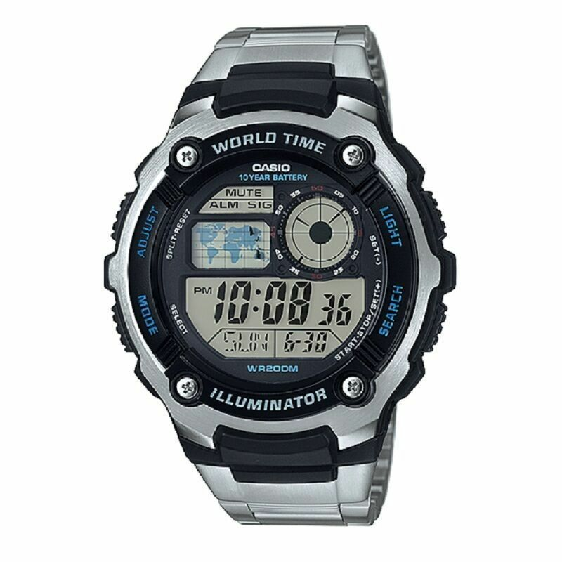 Casio Men's AE-2100WD-1AV 200M WR 5 Alarms World Time Watch 10 Year Battery New