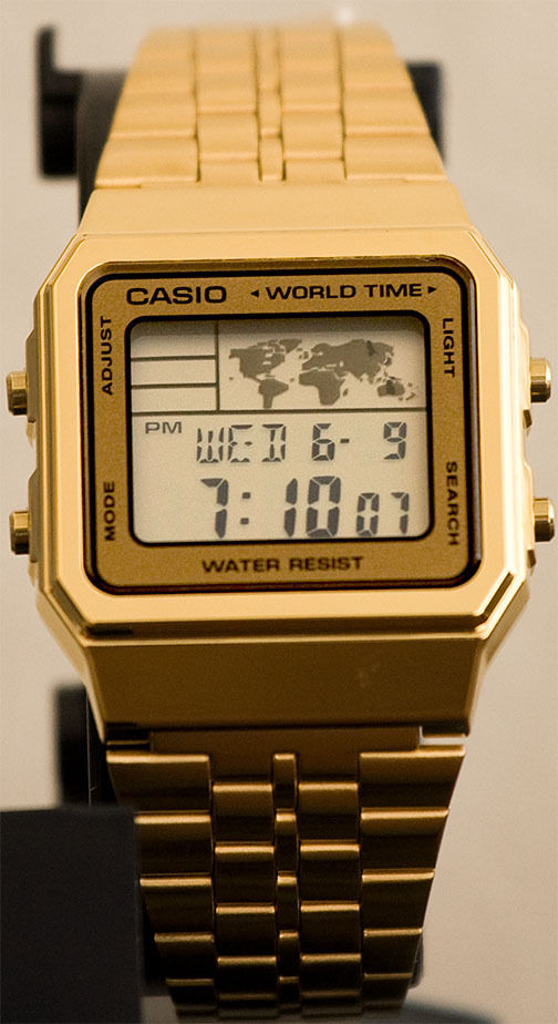 Casio A-500WGA-9D World Time 5 Alarms LED Backlight Watch Gold Steel Band New