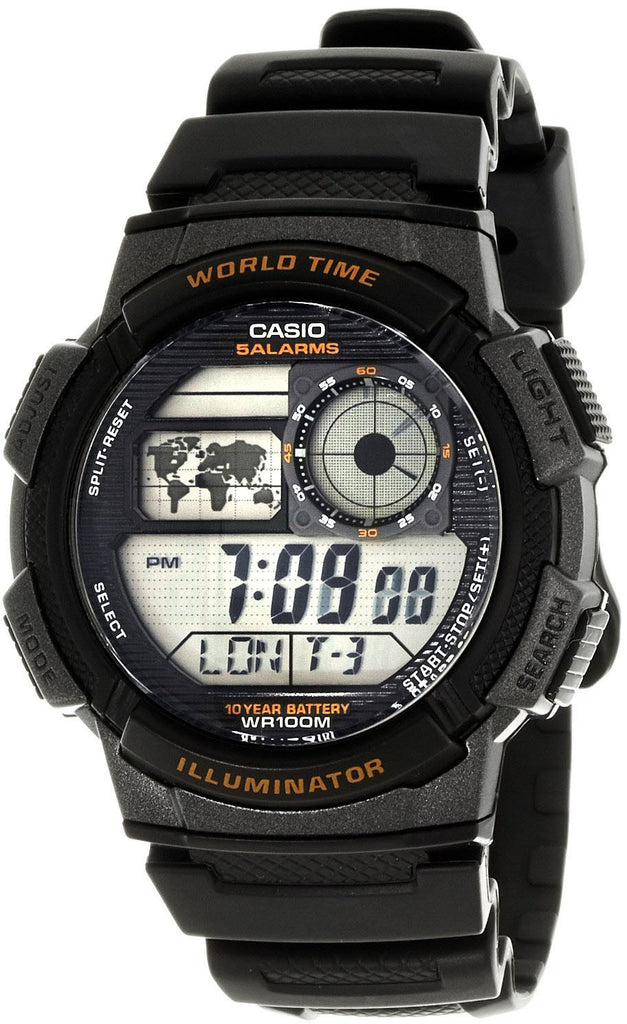 Casio AE-1000W-1AV World Time Map 5 Alarms Watch 10 Year Battery World Map