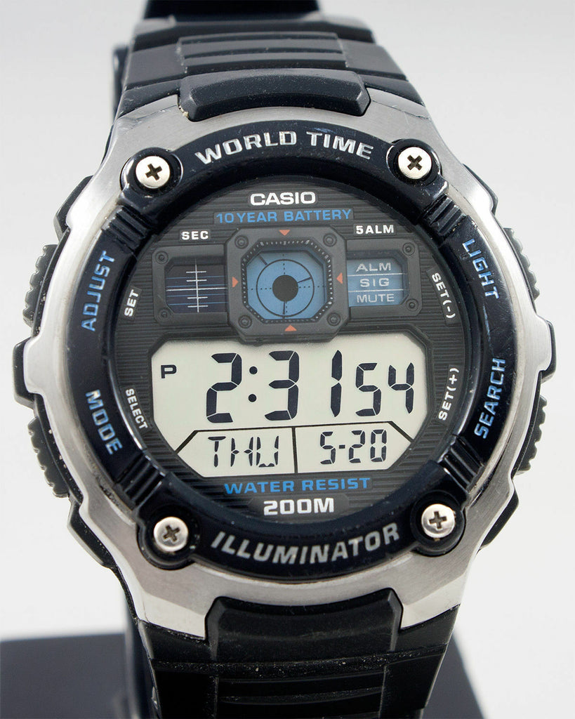 Casio AE-2000W-1AV World Time Map 5 Alarms Watch 10 Year Battery 200M WR