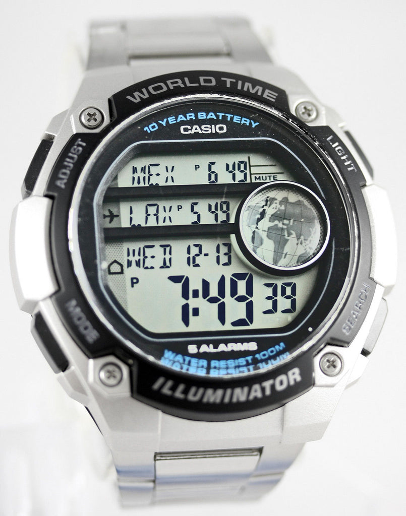 Casio AE-3000WD-1AV Black Gold Sports Steel Watch - 48 City Time - 100M 10 Year Battery