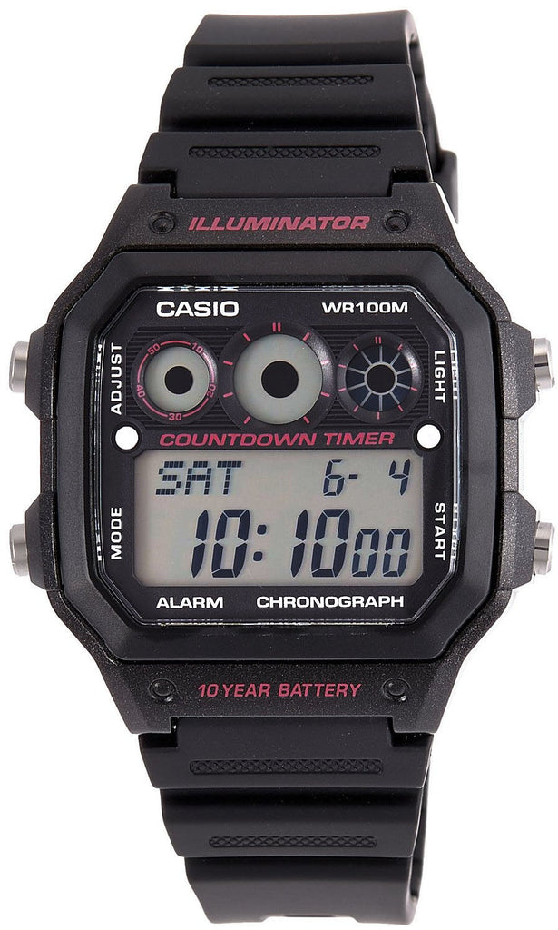 Casio AE-1300WH-1A2V World Time 5 Alarms 10 Year Battery Watch 9 Timers LED New