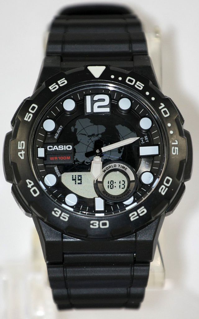 Casio AEQ-100W-1AV Mens Black 100M World Time Watch Digital/ Analog Sports New