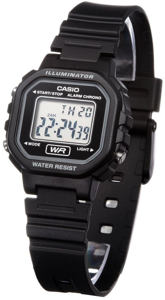 Casio LA-20WH-1A Ladies Black Digital Watch with LED Light 5 Year Battery New