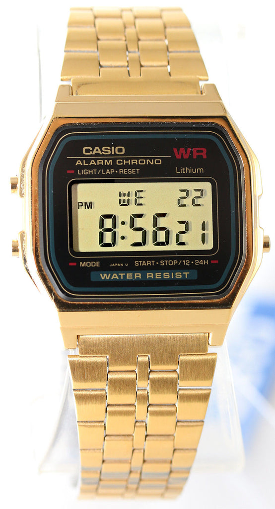 Casio A-159WGEA-1D Black Digital Gold Watch Stainless Steel Gold Classic New