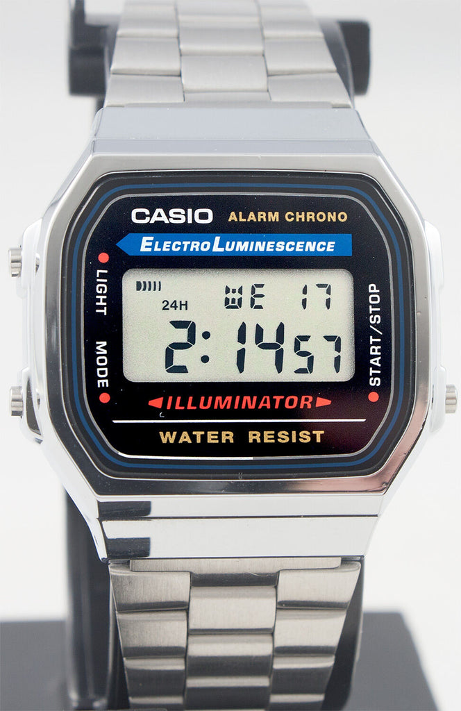 Casio A-168WA-1 Men's Digital Watch Stainless Steel Band Alarm Stopwatch New
