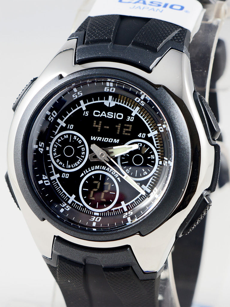 Casio AQ-163W-1B1 Mens World Time Watch Yacht Timer Analog Digital 5 Alarms New