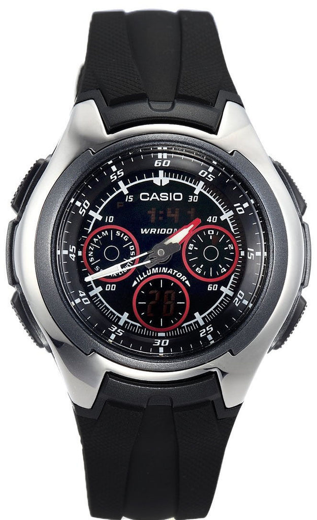Casio AQ-163W-1B2 Mens World Time Watch Yacht Timer Analog Digital 5 Alarms New