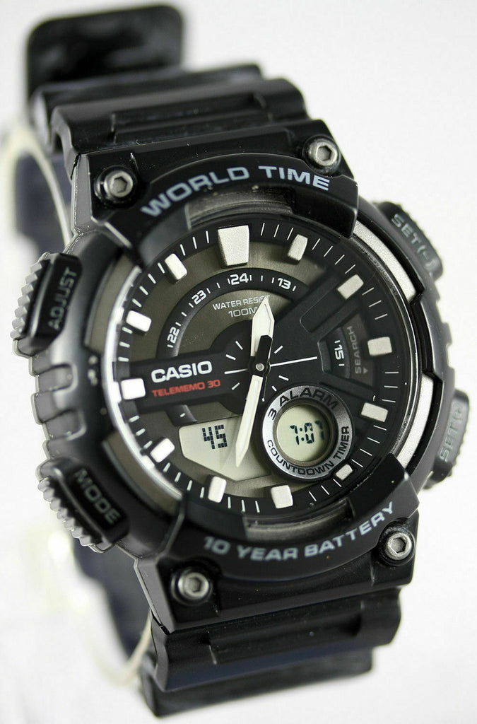 73ce523051b Casio AEQ-110W-1AV Mens Black 100M World Time Watch Digital  Analog Sports  · Enlarge Image