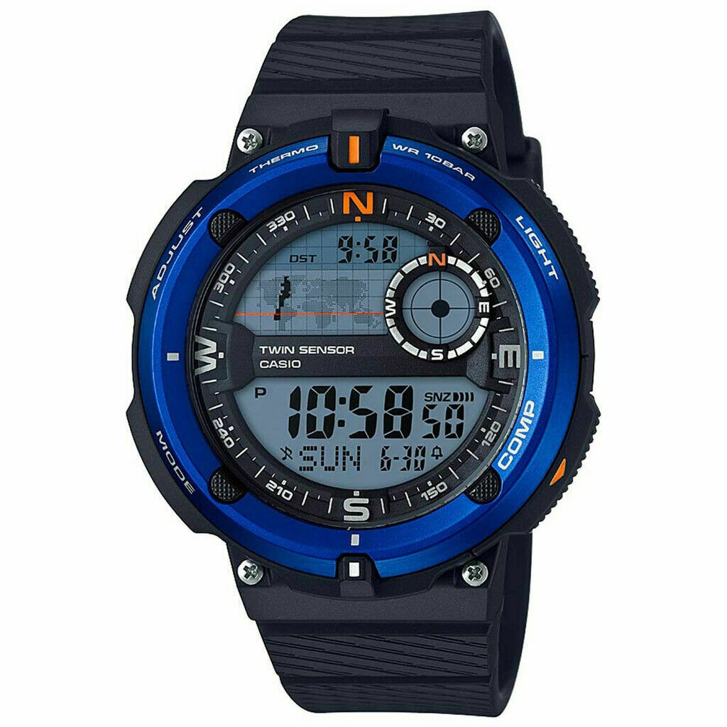 Casio SGW-600H-2A Digital Compass Thermometer Resin Watch, 5 Alarms, World Time