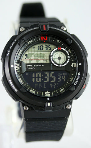Casio SGW-600H-1B Digital Compass Thermometer Resin Watch, 5 Alarms, World Time