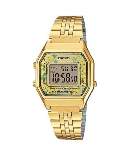 NEWEST Casio LA-680WGA-9C Women Mid-Size Digital Retro Vintage Watch FLORAL GOLD