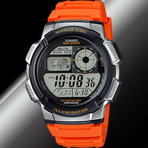 Casio AE-1000W-4BV World Time Map 5 Alarms Watch 10 Year Battery World Map Orange