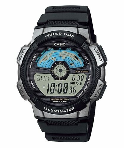 Casio AE-1100W-1AV Mens 100M LCD World Time Sports Watch 10 Year Battery Dual Time