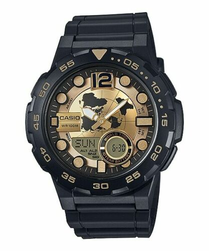 Casio AEQ-100BW-9AV Mens Black 100M World Time Watch Digital/ Analog Sports New Gold