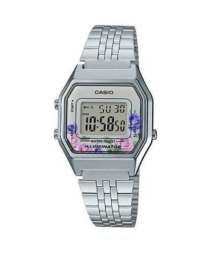 NEWEST Casio LA680WA-4C Women Silver Digital Retro Vintage Watch FLORAL
