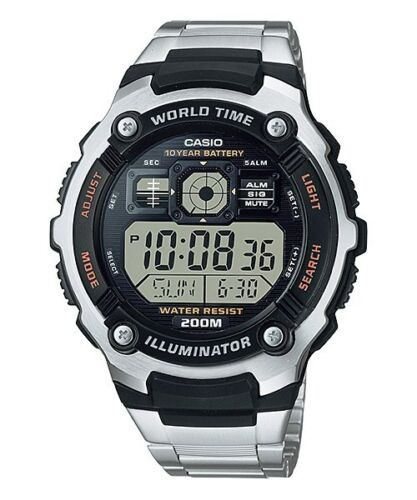Casio AE-2000WD-1AV World Time Map 5 Alarms Watch Steel 10 Year Battery 200M WR