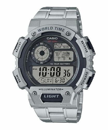 Casio AE-1400WHD-1AV World Time 5 Alarms 10 Year Battery Steel Watch LED New