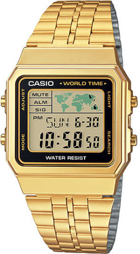 Casio A-500WGA-1D World Time 5 Alarms LED Backlight Watch Gold Steel Band New