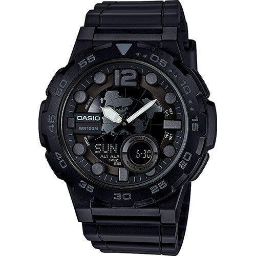 Casio AEQ-100W-1BV Mens BLACK 100M World Time Watch Digital/ Analog Sports New