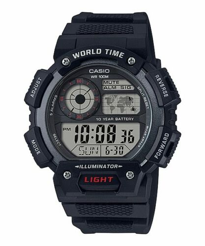 Casio AE-1400WH-1AV World Time 5 Alarms 10 Year Battery Watch LED New