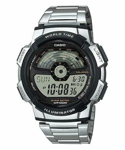 Casio AE-1100WD-1AV Mens 100M LCD World Time Sports Watch 10 Year Battery Dual Time