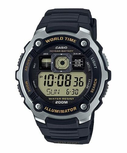 Casio AE-2000W-9AV World Time Map 5 Alarms Watch 10 Year Battery 200M WR