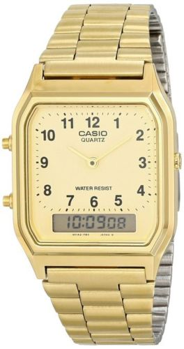Casio AQ-230GA-9B Mens Digital Watch Stainless Steel Analog Alarm Gold New