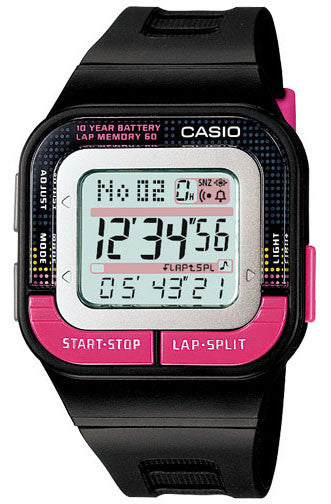 Casio SDB-100-1B Ladies Running Pace 60-Lap Memory Sports 4 Alarms Watch