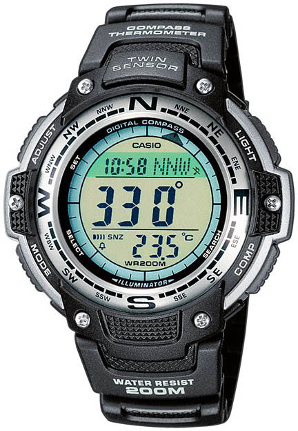 Casio SGW-100-1V Compass Thermometer World Time 5 Daily Alarms Watch NEW