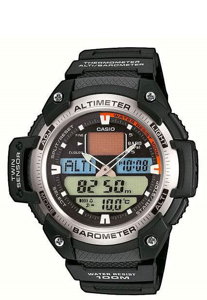 Casio SGW-400H-1B Altimeter Thermometer Barometer World Time 5 Alarms Watch