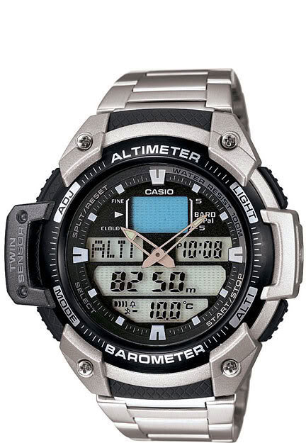Casio SGW-400HD-1AV Altimeter Thermometer Barometer 5 Alarms Watch Steel Band