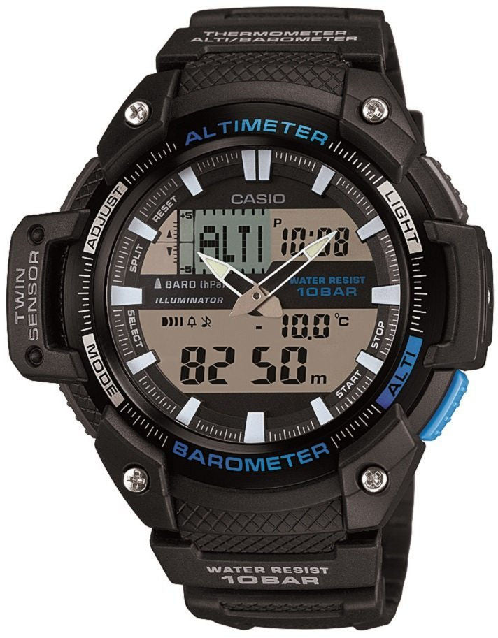 Casio SGW-450H-1A Thermometer Altimeter Barometer World Time 5 Alarms Watch New 2015 Model
