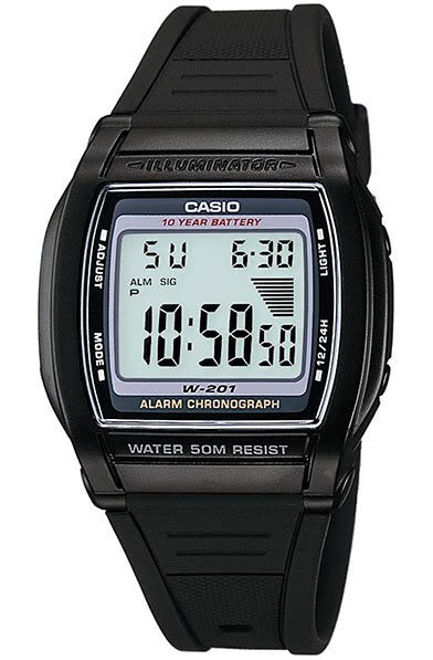 Casio W-201-1AV Digital Illuminator Watch with 2 Time-Zones