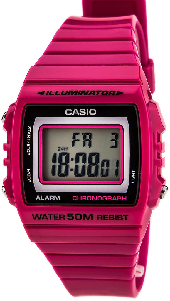 Casio Unisex W-215H-4AV Classic Pink Red Digital Watch 50M WR LED Light