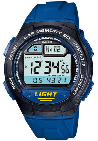 Casio W-734-2AV Lap Memory 60 - World Time 5 Alarms Watch New 10 Year Battery