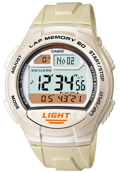 Casio W-734-7AV Lap Memory 60 - World Time 5 Alarms Watch New 10 Year Battery