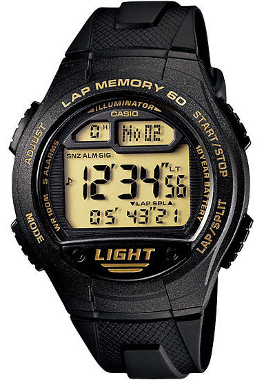 Casio W-734-9AV Lap Memory 60 - World Time 5 Alarms Watch New 10 Year Battery